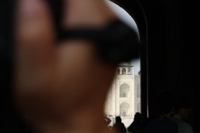 A first glimpse of the Taj Mahal.
